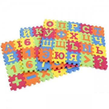 Мягкие пазлы с буквами цифрами и знаками 60 эл.